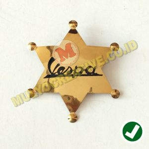 Lencana Logo Vespa Motif Bintang Sherrif Bahan Kuningan