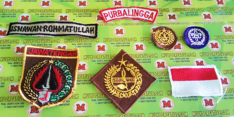 emblem pramuka, bordir seragam pramuka, bed pramuka, badge pramuka, bordir tanda pandu dunia, dll