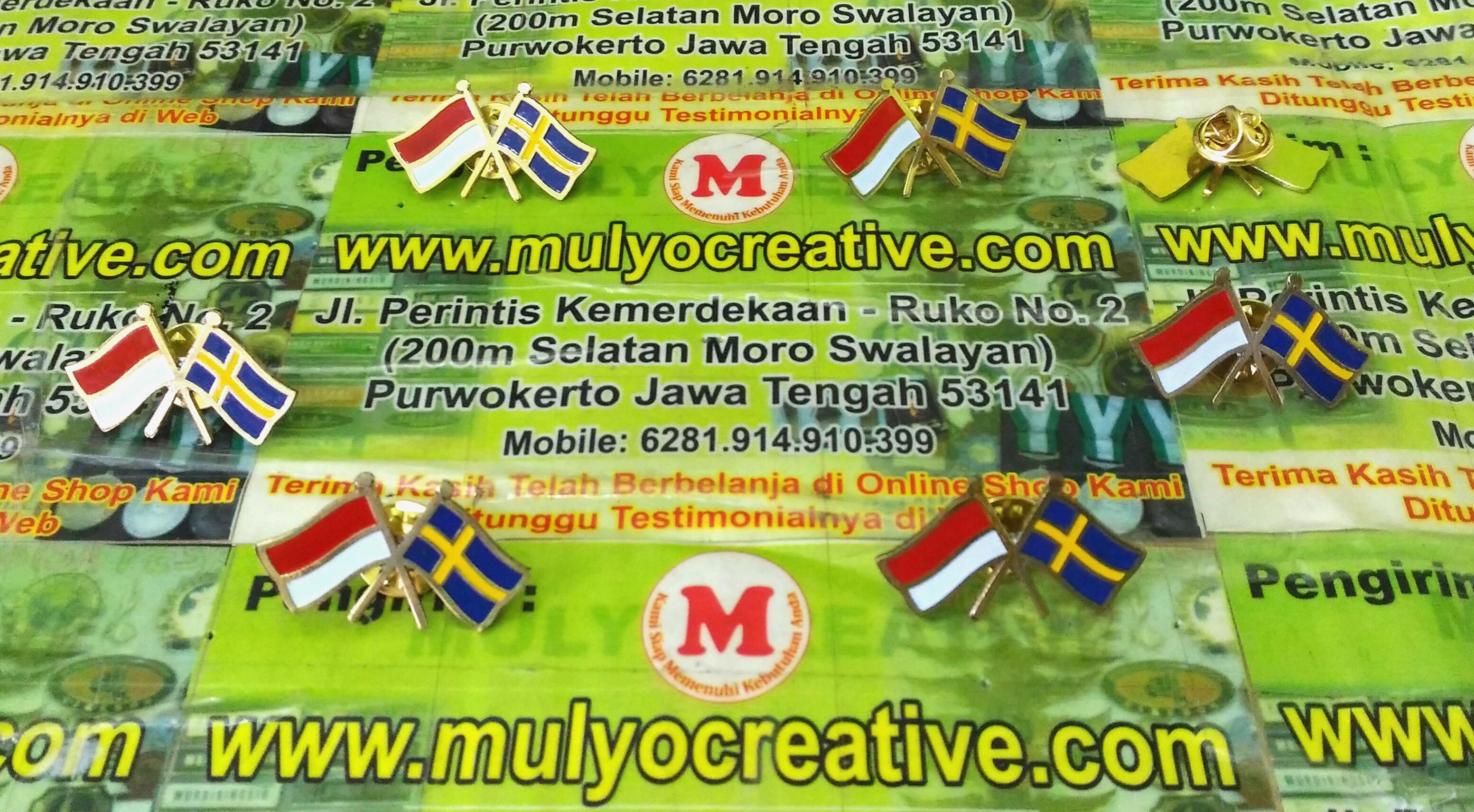 Pin Bendera Indonesia dan Swedia